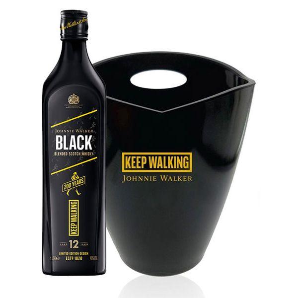 Johnnie Walker Black Label Blended Scotch Whisky 1L + 1x FREE Bucket
