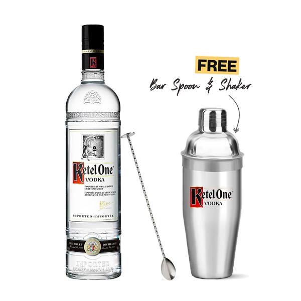 Ketel One Vodka 1L + 1x FREE Bar Spoon & Shaker